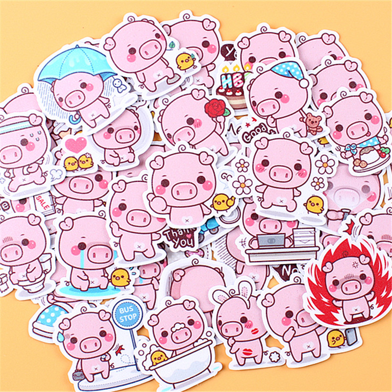 35 PCS Cartoon Pink Pig  Paper Stickers Crafts And Scrapbooking Stickers Kids Toys Book Decorative Sticker DIY Stationery