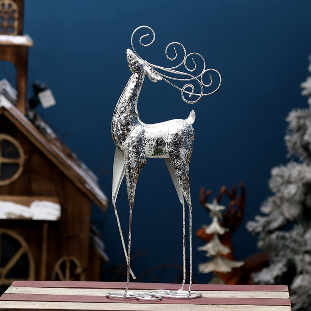 1PC Decoration Creative Iron Unique Silver Foot Lifting Deer Ornaments For Home Window Christmas Shop Holiday Decoration