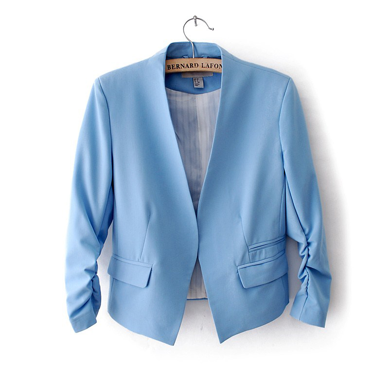 NEW Chic Basic Solid Color Fashion Blazer Women 3/4 Sleeve Pockets None Button Blazer Woman Slim Short Suit Jacket