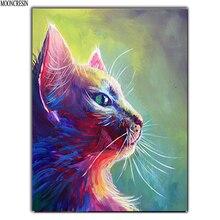 цена 5D Diy Diamond Painting Cross Stitch Colored Cat Needlework 3D Diamond Embroidery Full Round Mosaic Decoration Resin Sticker Kit онлайн в 2017 году