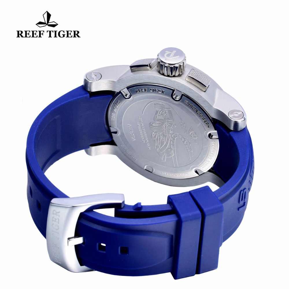 שונית טייגר למעלה מותג מהירות ספורט שעונים לגברים ספורט רצועת גומי כחול עמיד למים הכרונוגרף קוורץ שעונים Relogio Masculino
