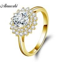 AINUOSHI 10 K массивная, желтая, Золотая двойная Halo Кольцо 1ct круглая огранка SONA бриллиантовое кольцо роскошное обручальное Ювелирное кольцо для