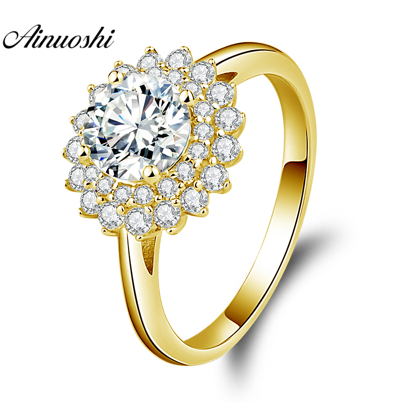 AINUOSHI 10K Solid Yellow Gold Double Halo Ring 1ct Round Cut SONA Diamond Ring Luxurious Wedding Engagement Jewelry Women Ring
