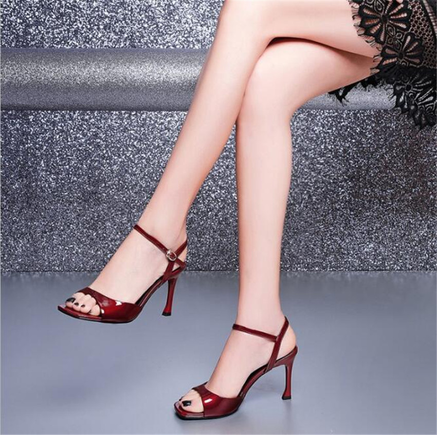 MLCRIYG 2018 mature sexy ankle strap pure leather women's shoes