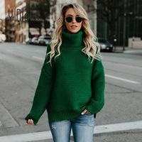 Women'S Pullovers Winter Warm Turtleneck Sweater Female Long Bell Sleeve Loose Solid Knit Jumper Lady Pullover Roupas S XL