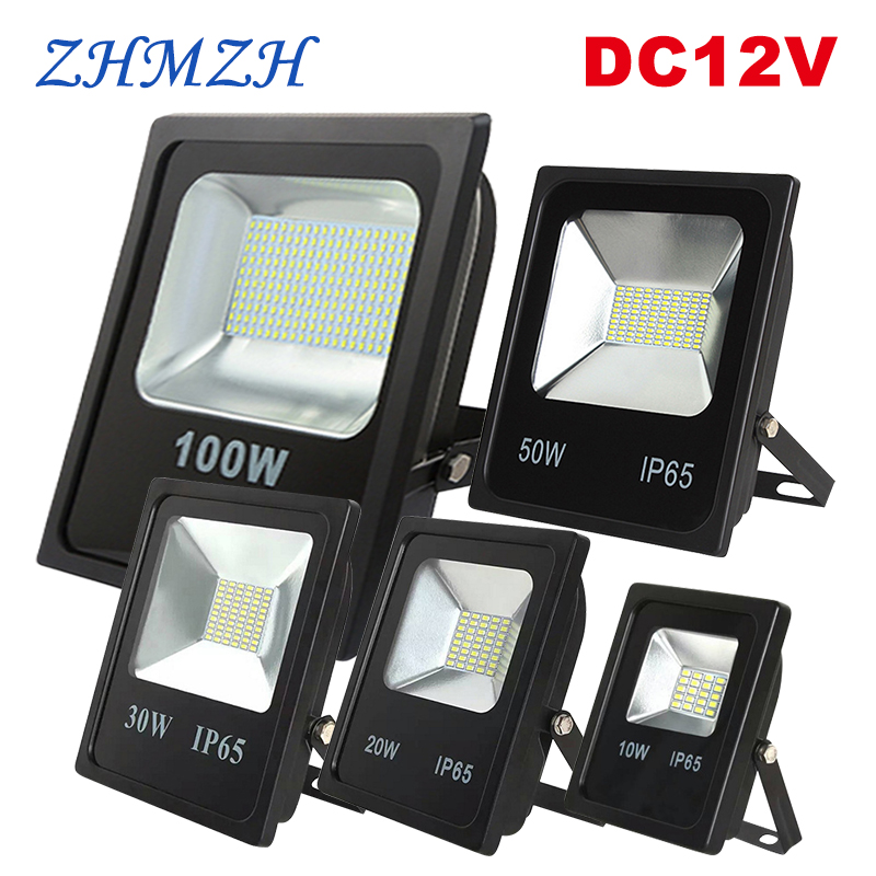 DC12V LED Floodlight 10W 20W 30W 50W 100W Waterproof IP66 DC 12V Flood Light Professional Outdoor Spotlight For Night Market