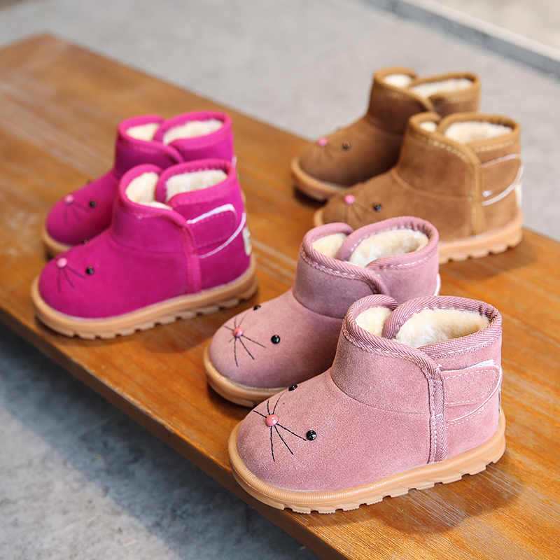 Girls Boots Baby Boys Cotton Shoes Winter Children Plush Velvet Short Boots Kids Baby Warming Shoes Kitten Snow Boots Fashion