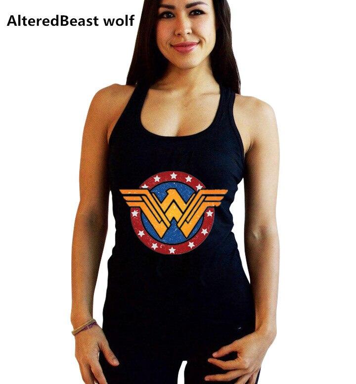 Women Sexy Tanks Tops Female Wonder Woman Print Black Tank Tops Fashion Summer Vest Women Sleeveless