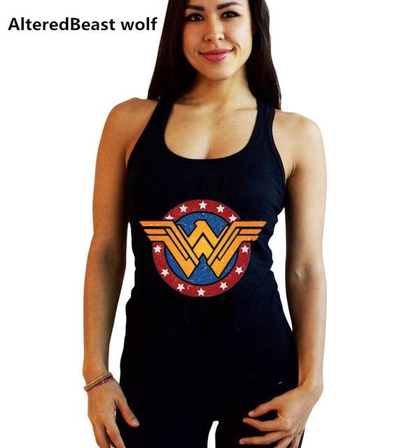 e10047ae597bb Women Sexy Tanks Tops female Wonder Woman print Black Tank Tops Fashion  summer Vest women Sleeveless Fitness cotton Tops   Tees