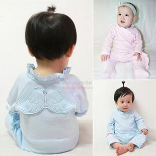 La venta de la historieta alas del ángel del bebé ropa primavera y otoño recién nacido ropa infantil del mameluco + envío gratuito