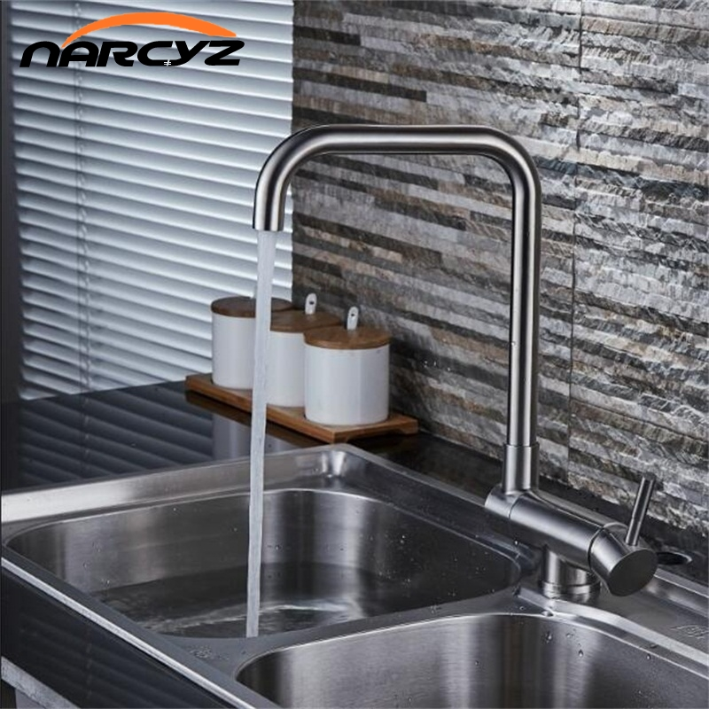 NEW Kitchen Faucet Single Handle 304 Stainless Steel Mixer Sink Tap Mixer Hot Cold Water Torneira 360 Degree Rotating XT-94 sus304 stainless steel dish basin faucet water tap ceramic disc cartridge single hot cool water mixer rotable unleaded faucet