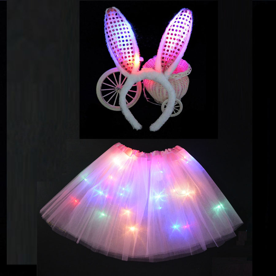 LED Glowing Light Kids Girls Princess Tutu Dresses Children Clothing  Wedding Party Headband Crown Rabbit Bunny 646f9dc06cd4