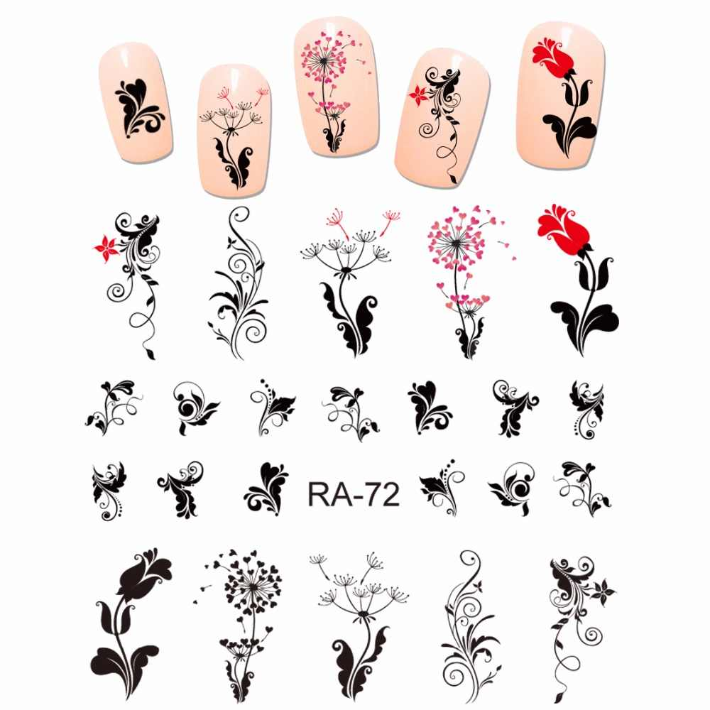NAIL ART SCHOONHEID WATER STICKER DECAL SLIDER ZWART RODE BLOEM BLOEMEN ROSE PAARDEBLOEM VINTAGE SWIRL PATROON RA067-072