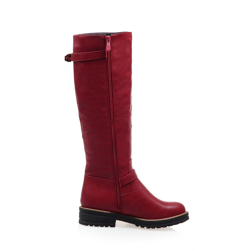 QUTAA 2020 Fashion Women Boot Med Calf  New Fashion Round Toe Woman Winter Shoes size 34-43