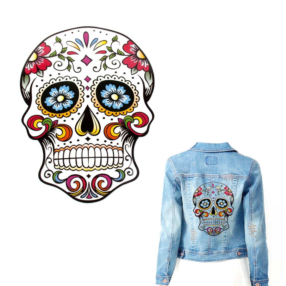 Fengrise Skull Embroidered Patch Applique Heat Transfer
