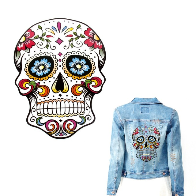 Fengrise skull embroidered patch applique heat transfer stickers t shirt printing sewing on patches patchwork sewing