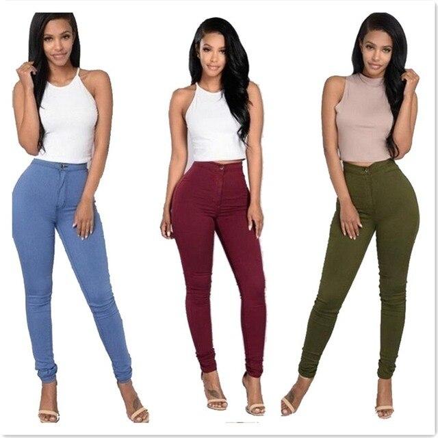 Qiaosite D été Léger Taille Haute Femmes Jeans Soild Crayon Pantalon  Élasticité Maigre Pantalon De 6de98651b9e