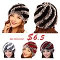 15 colors New Style Genuine Knitted Rex Rabbit Fur Hat Natural Rabbit Fur Caps Fashion Women Beanies Headgear Various Colors