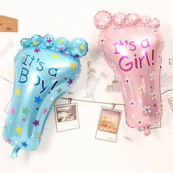 2018 New Its A Boygirl Lovely Feet Ballon Baby Shower Foot Aluminum