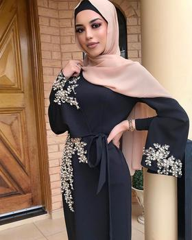 Elegant Muslim Embroidery Abaya Full Dress Vestidos Cardigan Kimono Loose Long Robe Gowns  Islamic 1