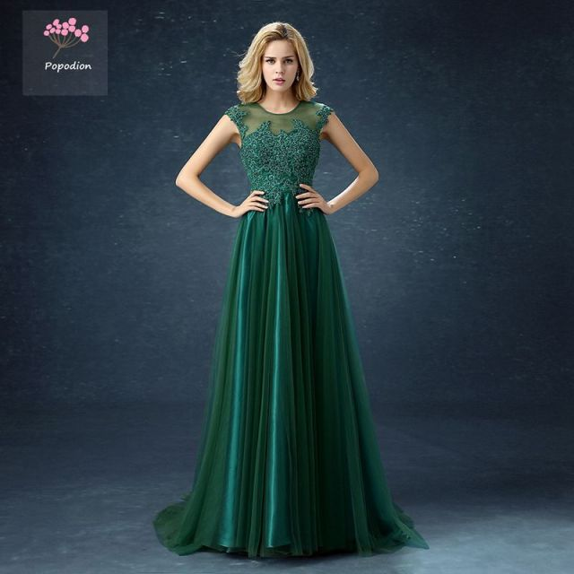 Long Style Dark Green Bridesmaid Dresses Lace Flower Sister Party Dress Wedding Guest Vestidos De