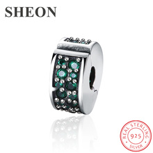 SHEON 100% 925 Silver Dazzling Elegance Clip Beads, Clear CZ Charms fit Pandora Bracelet for Women DIY Jewelry Making 2 Colors sheon 100
