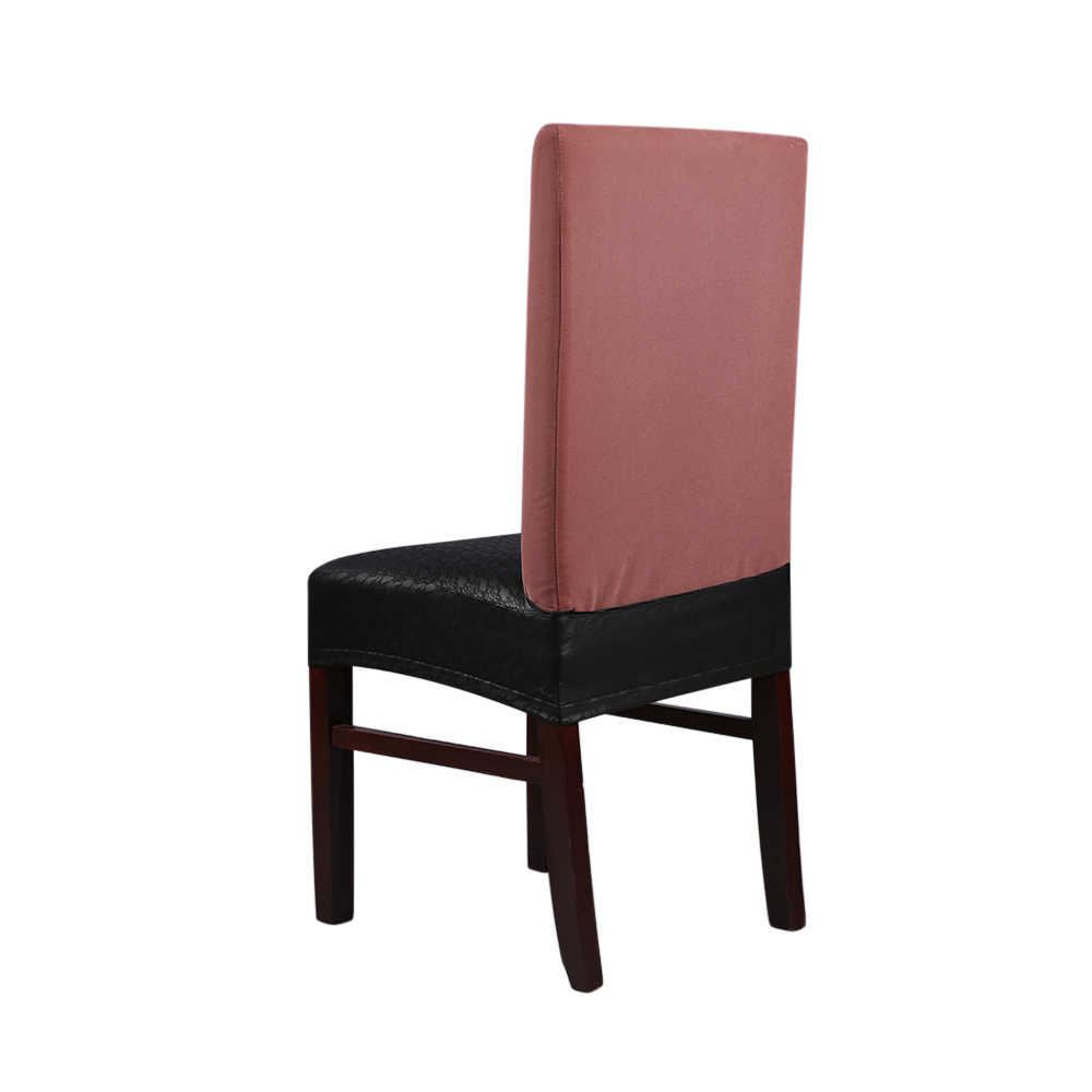 Dining Chair Slipcover 2pcs Pu Leather Stretchable Dining Chair Seat Covers Waterproof Oilproof Dustproof Ceremony Chair Slipcovers Protectors 2 Styles