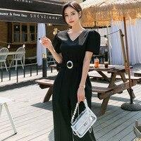 Vintage V neck Belted Waist Black Jumpsuits Women 2019 Elegant Wide Leg Long Playsuits Casual Work Wear Rompers