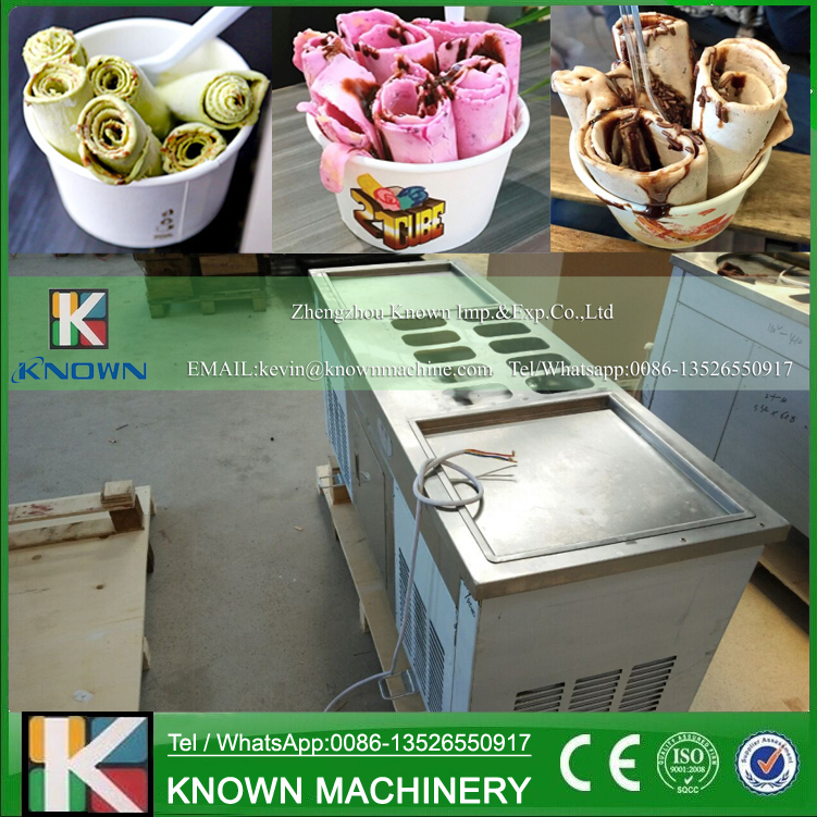 The 110V double pans of fried ice cream roll machine / flat pan fried ice cream machine with R410A refrigerant