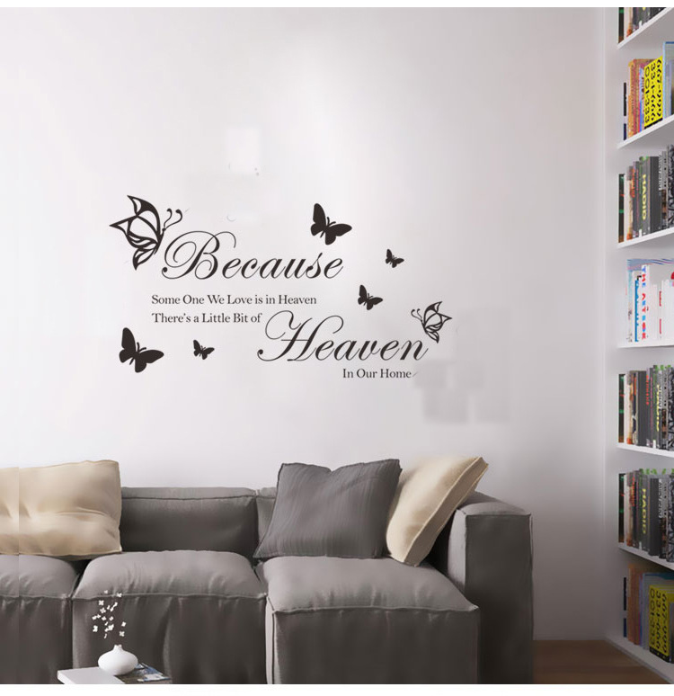 brand because some one we love quotes wall sticker decal butterfly mural bedroom bathroom vinyl decoration