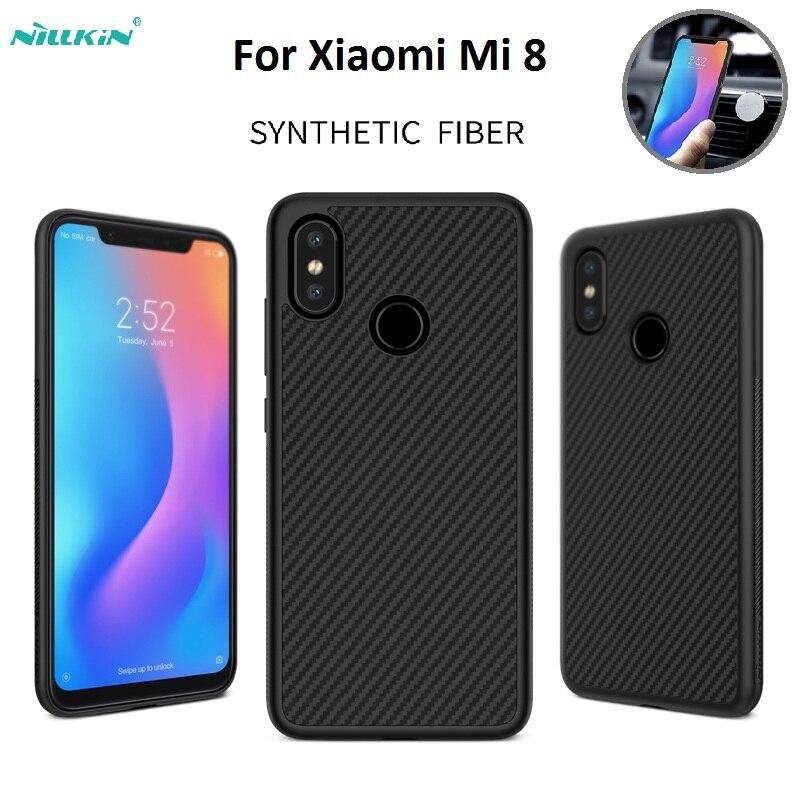 For Xiaomi Mi 8 Nillkin Synthetic fiber Plastic Back PC Hard Back Cover Case For xiaomi mi 8 2018 Magnetic phone case 6.21inch