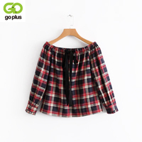 GOPLUS Plaid Print Women Shirts Open Neck One Slash Neck Ties Spring Autumn Long Sleeves Blouses