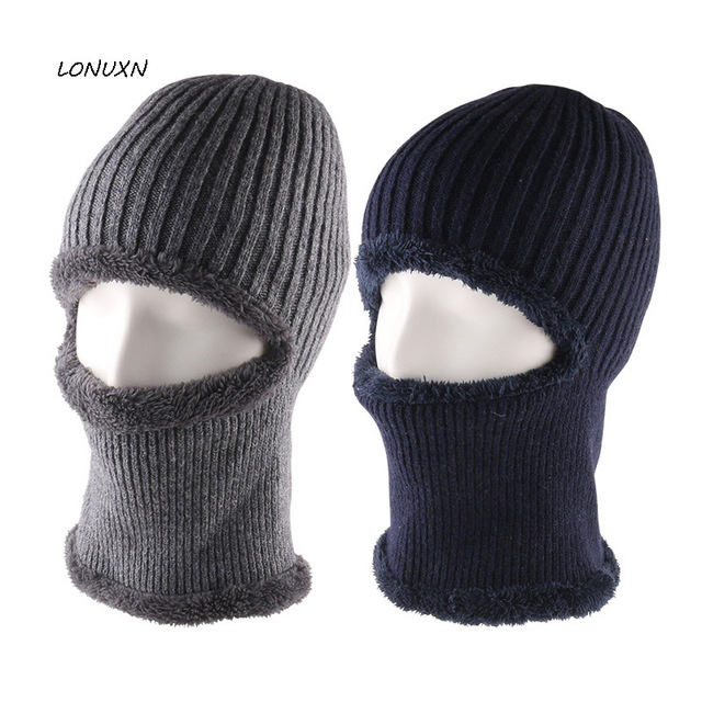 101332a826f New Balaclava Thickening knitted wool cap Men s winter hat Skullies Knitted Balaclava  Cap Mask Thermal Plush