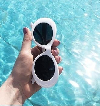 2019 goggle Kurt Cobain glasses oval sunglasses ladies trendy  hot Vintage retro sunglasses Women's white black eyewear UV printio футболка wearcraft premium kurt cobain