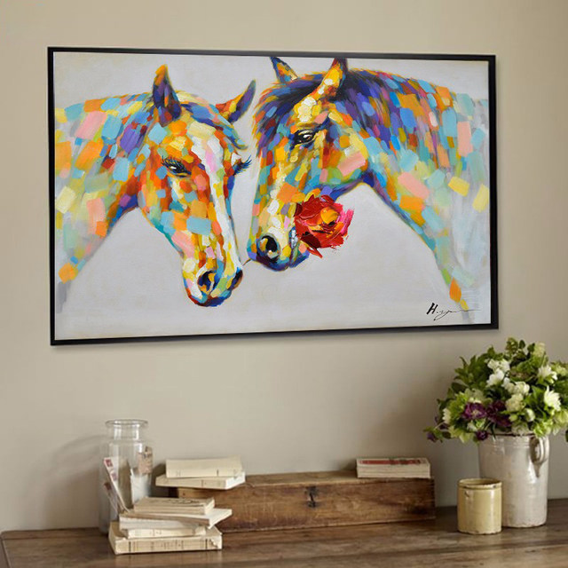 Online Shop Wildlife Animal Wall Art Horses Canvas Print 100% Hand ...