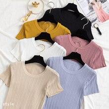 Shintimes 2019 Summer Casual Knitted T Shirt Women Short Sleeves T-Shirt Korean O-Neck Tops High Elastic Rib Tee Femme
