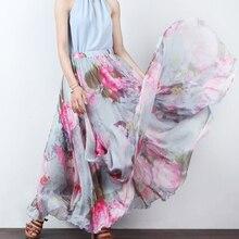Spring Summer High Waist Chiffon Big Swing Skirt Floor Length Vacation Bohemian Print A-line Skirt XHSD-3087