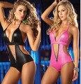 2016 nova Lingerie Sexy macacão de couro preto Faux de rosa de uma peça Set vestido de noite erótica BodySuit traje