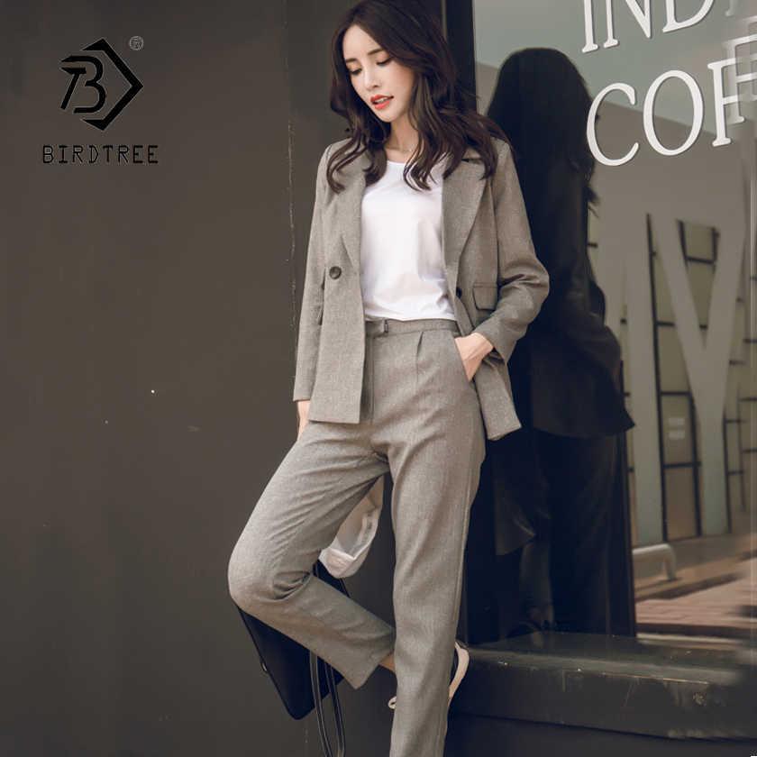 Feminino casual 2 peça define cinza blazer calças ternos de cintura alta calça senhora do escritório entalhado jaqueta coreano senhora terno femme s86212f
