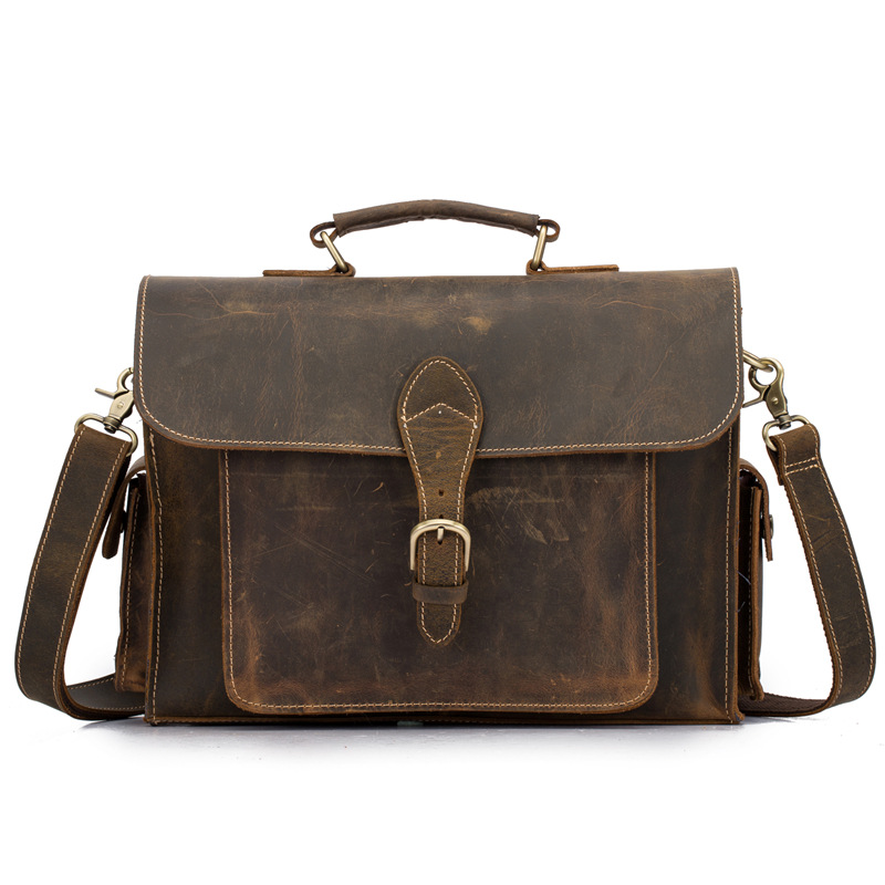 Cross - border foreign trade leather  crazy horse leather retro shoulder messenger bag mens business portable briefcaseCross - border foreign trade leather  crazy horse leather retro shoulder messenger bag mens business portable briefcase