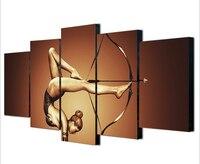 5 Pieces Art Canvas Sport Girl Shadow Flexibility Bow Arrow Legs Silk Fabric Home Decor Wall