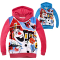 2016 Winter Baby Girls Snowman Olaf Cartoon Print Coats Kids Snow Queen Long-sleeved Warm Clothes Children Cotton Sweatshirts