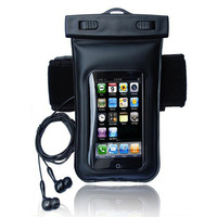 Black Waterproof Phone Cover Dry Arm Case Bag With Earphone For Smart Phone MP4 Samsung Iphone