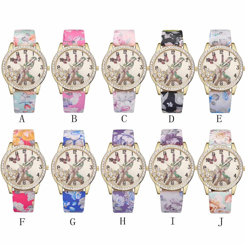 ชุดสตรีนาฬิกาสุภาพสตรีหรูหรา PU หนังกีฬาสร้อยข้อมือ Rhinestone นาฬิกาข้อมือควอตซ์ Analog reloj mujer zegarek damski