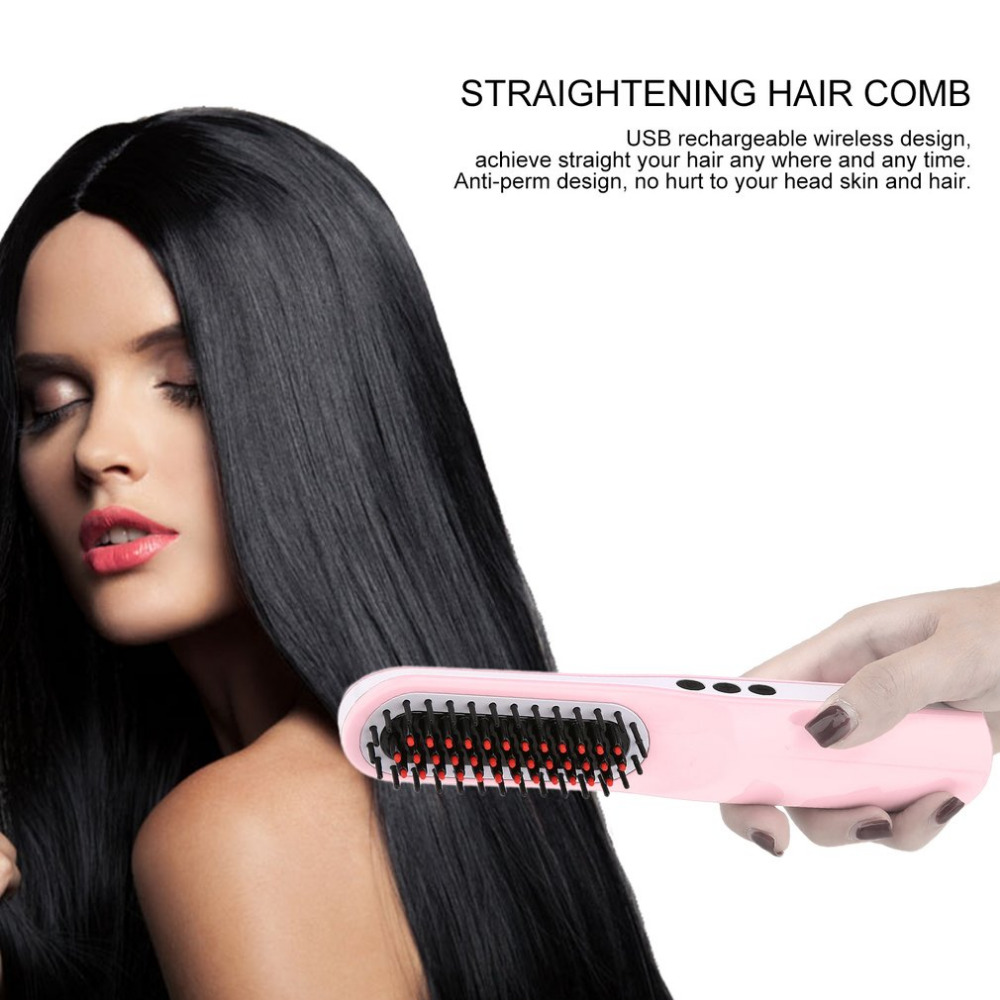 Portable USB Rechargeable Straightening Hair Comb With LCD Digital Display Wireless Anti-perm & Three Button Design button design tee with pocket