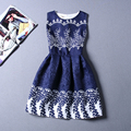Drop Shiping Summer Dress Women Retro Printed Sleeveless A-line Sexy Dress Vintage Fashion Jacquard Dresses Vestidos CRDRS45