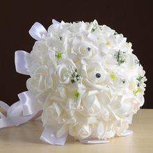 Bridal Bouquet Artificial Foam Crystal Rose hand Flowers Silk Ribbon Natural Pearl Wedding Bridesmaid Bouquet Floral Decoration