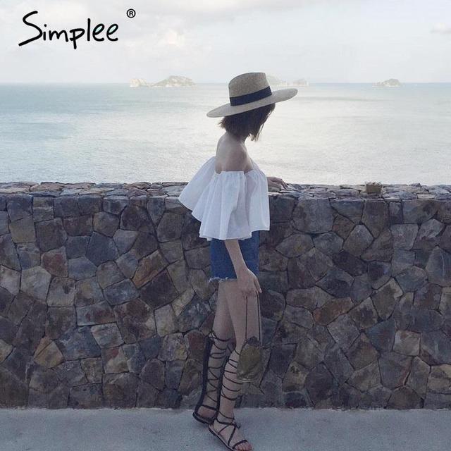 Simplee Apparel Sexy off shoulder cotton white blouse shirt Summer 2016 ruffles girls blouse Women tube tops beach casual blusas