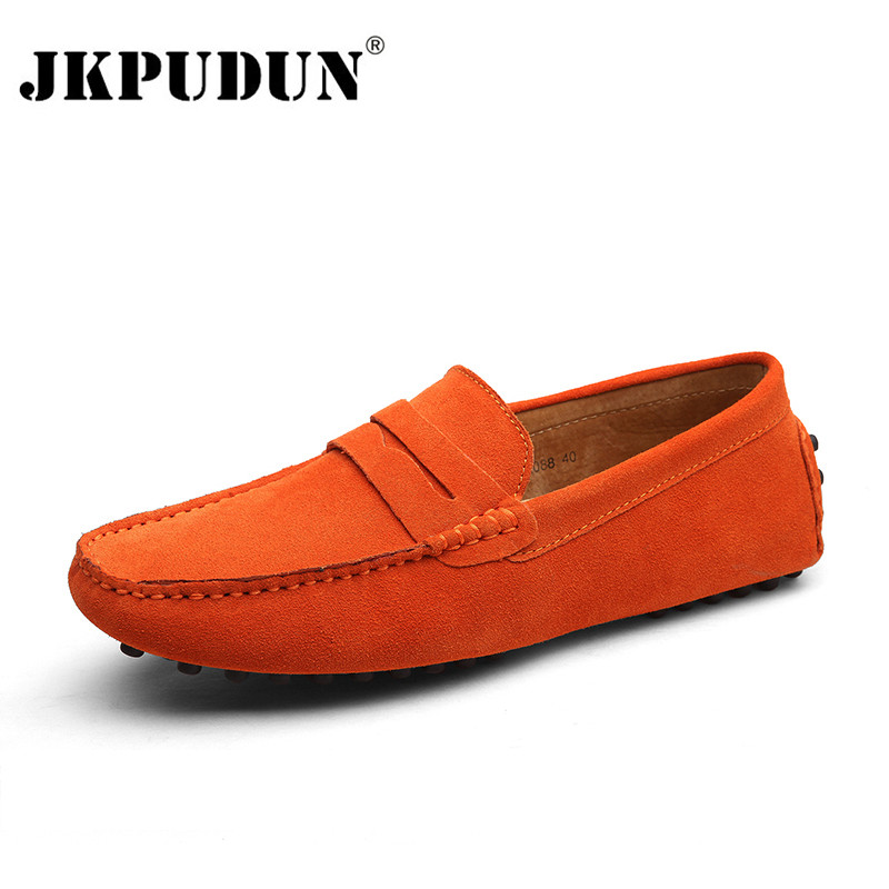 JKPUDUN Mens Shoes Casual 2017 Suede Leather Men Shoes Fashion Men Loafers Moccasins Slip On Male Boat Shoes Plus Size 38-47 black suede loafers for male plus size 38 47 casual mens footwear driving flats loafers suede leather flats slip on shoes mens