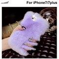Macia e suave cabelo de pele de coelho quente casos tampa do telefone de cristal de luxo diy diamante handmade volta case shell para iphone 7/7 plus